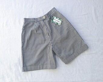 497458b526 90s high waist shorts wide leg shorts cuffed shorts striped shorts size S/M Lauren  Ralph Lauren Made in USA
