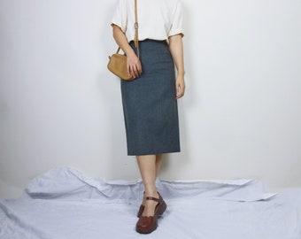2126b8180 vintage stripe pencil skirt midi skirt wool skirt secretary skirt pleated  skirt size XS/S