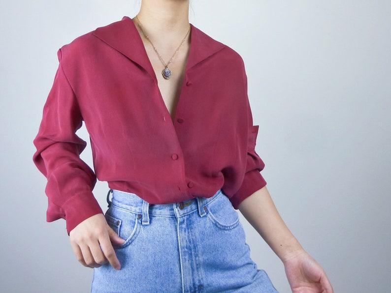 25d16a0136fe6a Vintage silk button down shirt secretary blouse silk top