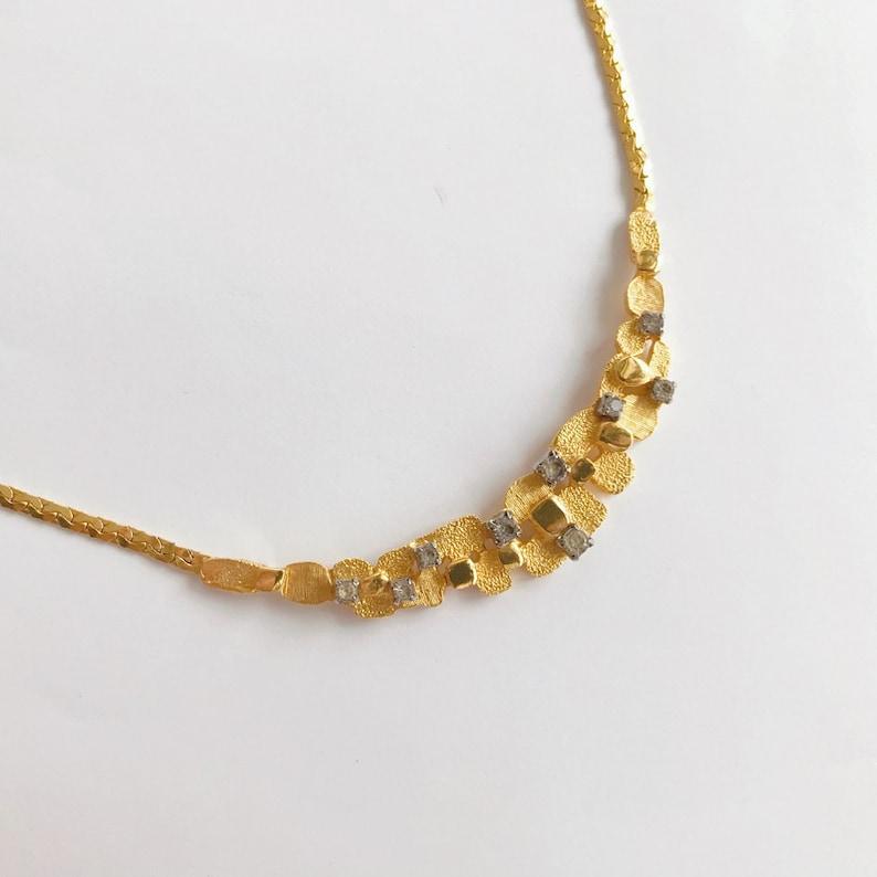 vintage necklace golden necklace statement necklace rhinestone necklace cocktail necklace minimalist necklace