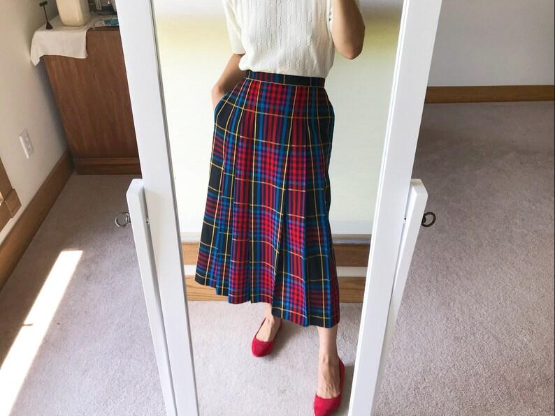 vintage wool skirt pleated skirt high waist midi skirt plaid skirt uniform skirt size S Made in USA John Meyer