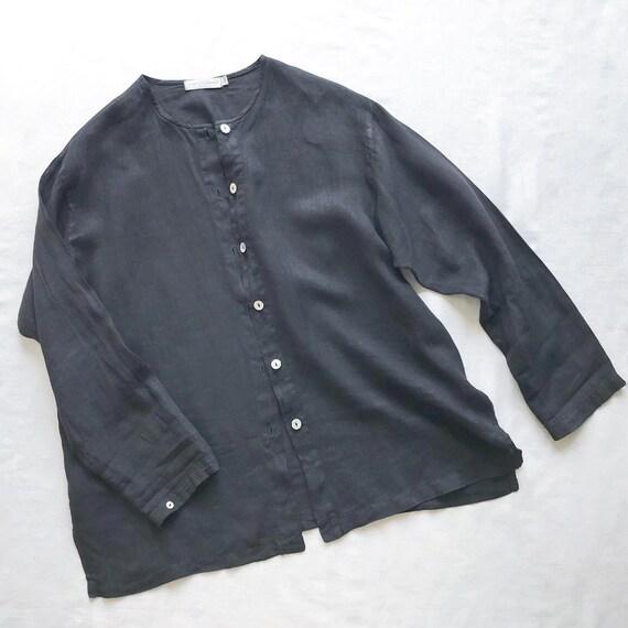 vintage linen blouse black linen linen jacket lin… - image 4