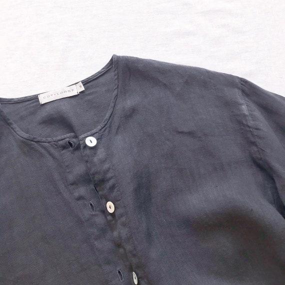 vintage linen blouse black linen linen jacket lin… - image 8