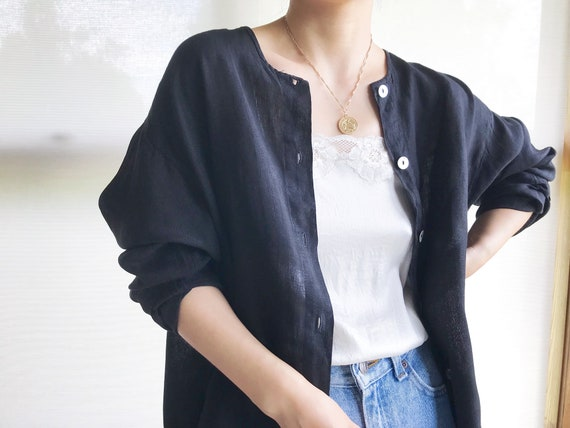 vintage linen blouse black linen linen jacket lin… - image 2