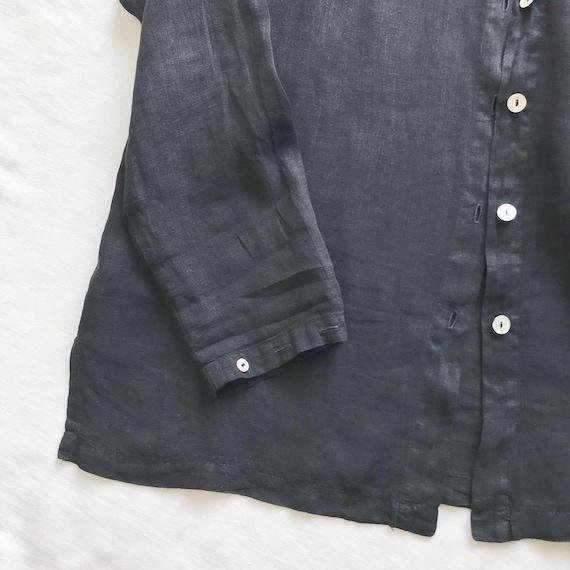 vintage linen blouse black linen linen jacket lin… - image 5