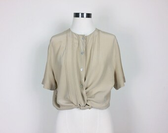 vintage silk blouse/ minimalist silk top/ silk shirt/ 80s silk top/ short sleeves women's size S/M