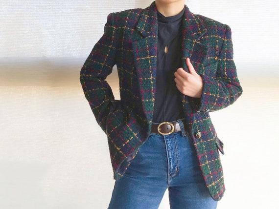 Tweed Coat Womans Tweed Jacket  Vintage Plaid Woolen Jacket Checkered Plaid Blazer Double Breasted  wool jacket Large to XL Size