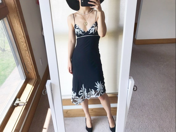 vintage silk dress little black dress lbd slip dre