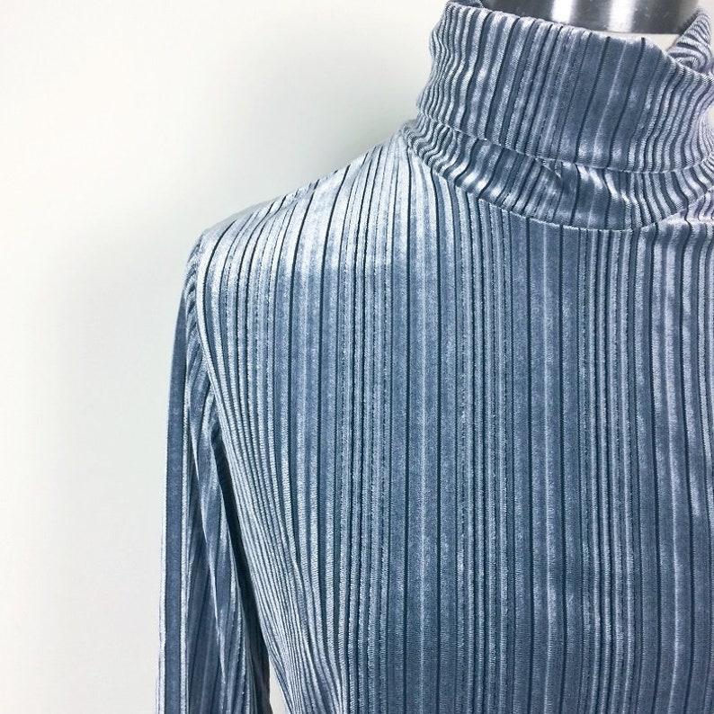 vintage velvet stripe turtle neck top minimalist Made in USA size SM