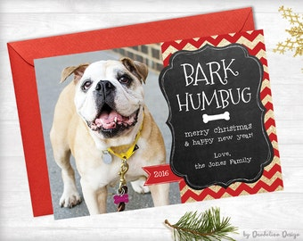 Bark Humbug Dog Photo Christmas Card Printable