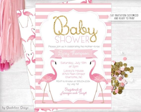 Printable Invitation Flamingo Baby Shower Invitation Flamingo Shower Flamingo Baby Pink Flamingo Flamingo Invite Shower Invitation
