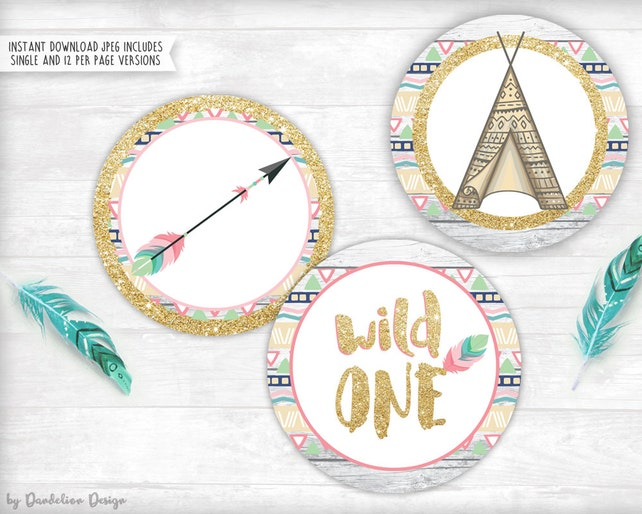 Wild One! Birthday Cupcake Toppers Printable Instant Download