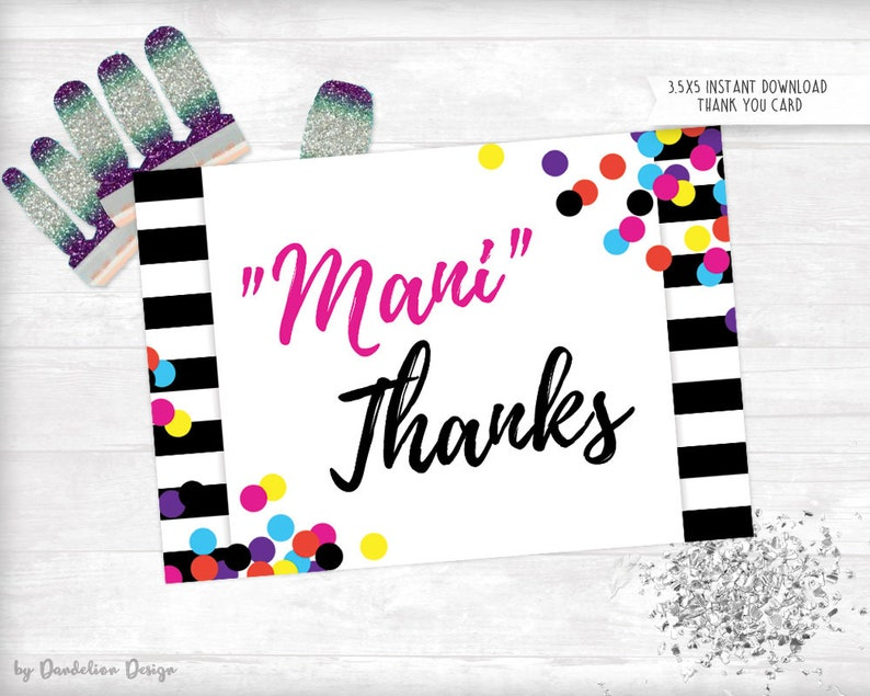 image about Mani Thanks Free Printable identified as Colour Highway Mani Due Thank By yourself Card Prompt Obtain Printable