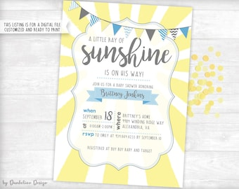 A Little Ray of Sunshine Baby Shower Invitation Printable