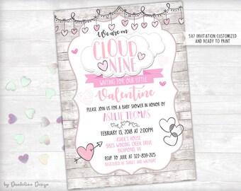Cloud Nine Valentine Baby Shower Invitation Printable