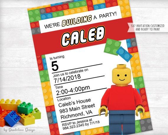 Lego Birthday Party Invitation Printable