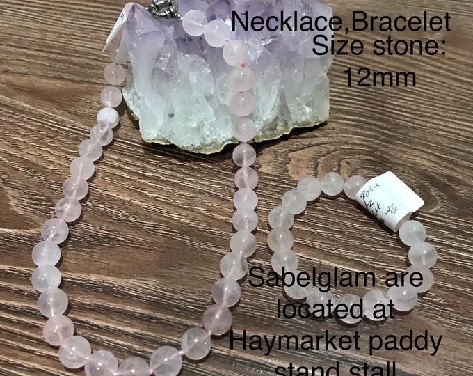Natural Rose Quartz Set Of Necklace and Bracelet