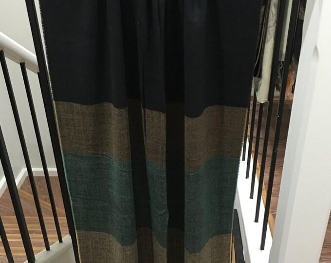 Cashmere Feel Multi Shawl Brown/Green
