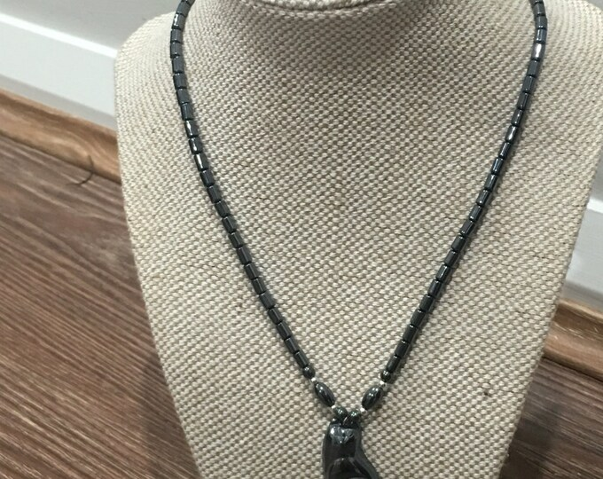 Hematite cat black bead pendant necklace