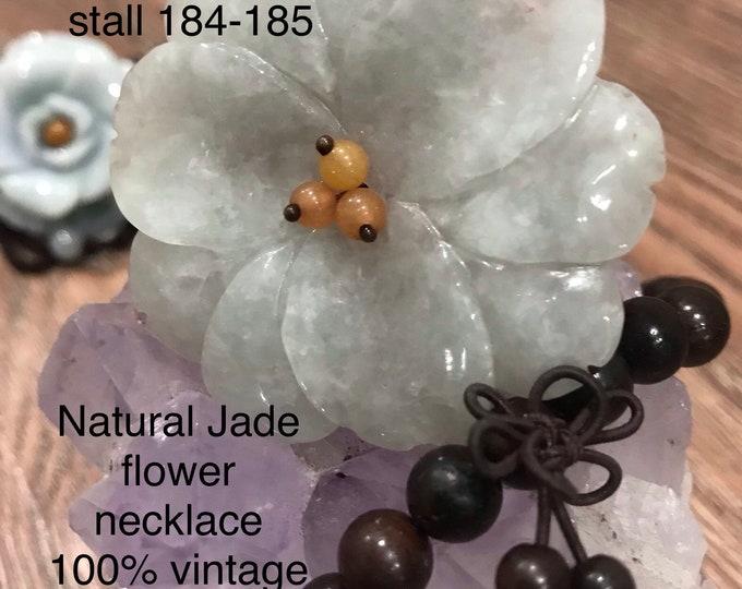 Natural Jade hand-Carving flower 100% vintage