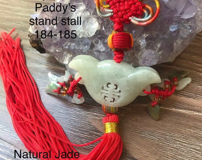 Featured listing image: Natural Jade lucky charm decoration 100% vintage