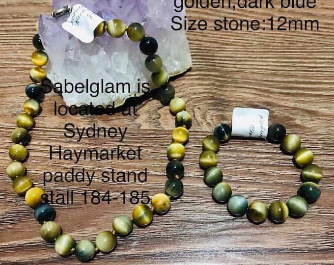 Natural tiger eye set of necklace bracelet