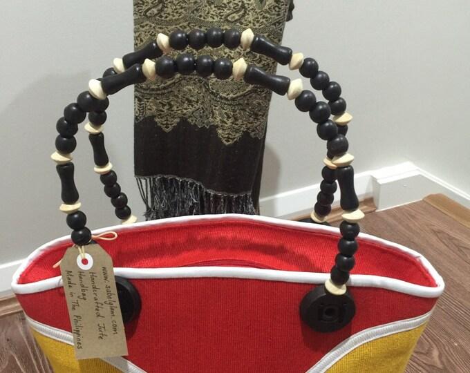 """Ellen Abaca(Jute)Handbag-height 11.5""""x17""""width Made in the Philippines"""