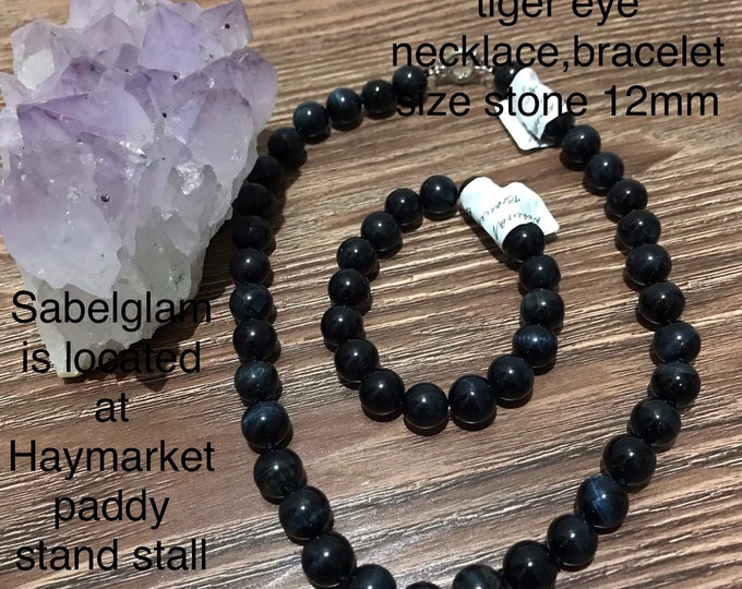 Natural Blue Tiger Eye Set of Necklace,bracelet   and come in different colour.