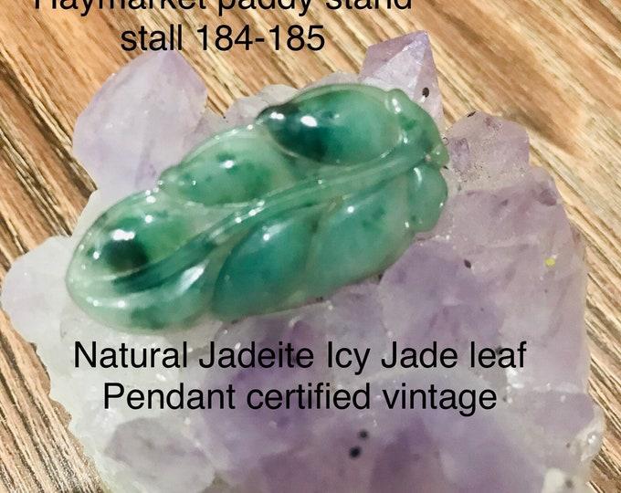 Certified  Icy Vintage Jade Pendant