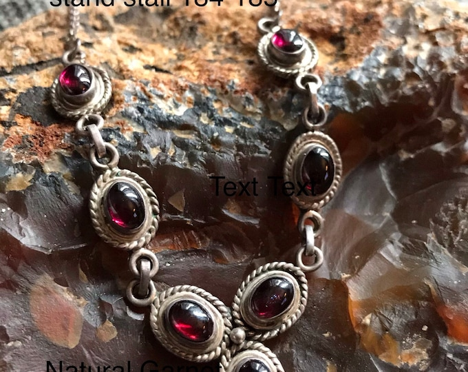Featured listing image: Natural Garnet sterling silver 925 100% vintage