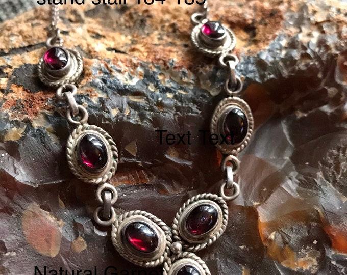 Featured listing image: Natural Garnet sterling silver 925 100% vintage