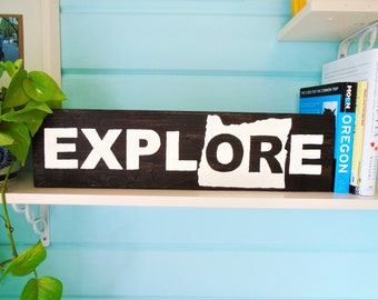 Explore Rustic Oregon Pallet Sign//Reclaimed//Camp//Hike//Wander//Northwest//Gift//Outdoors//Climb//Mountain//Forest//Portland