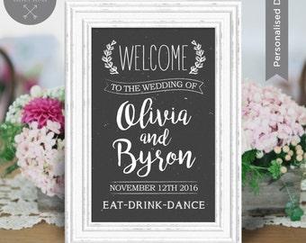 Rustic Wedding Welcome Sign DIY Print   Woodlands, Chalkboard, Boho   Black, Brown   Wedding Frame   Wedding Decoration   Sian Ashlee Design