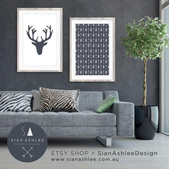 Deer Head Wall Art Living Room Decor Diy Print Deer Head Arrows Dusty Blue Grey By Sian Ashlee Design