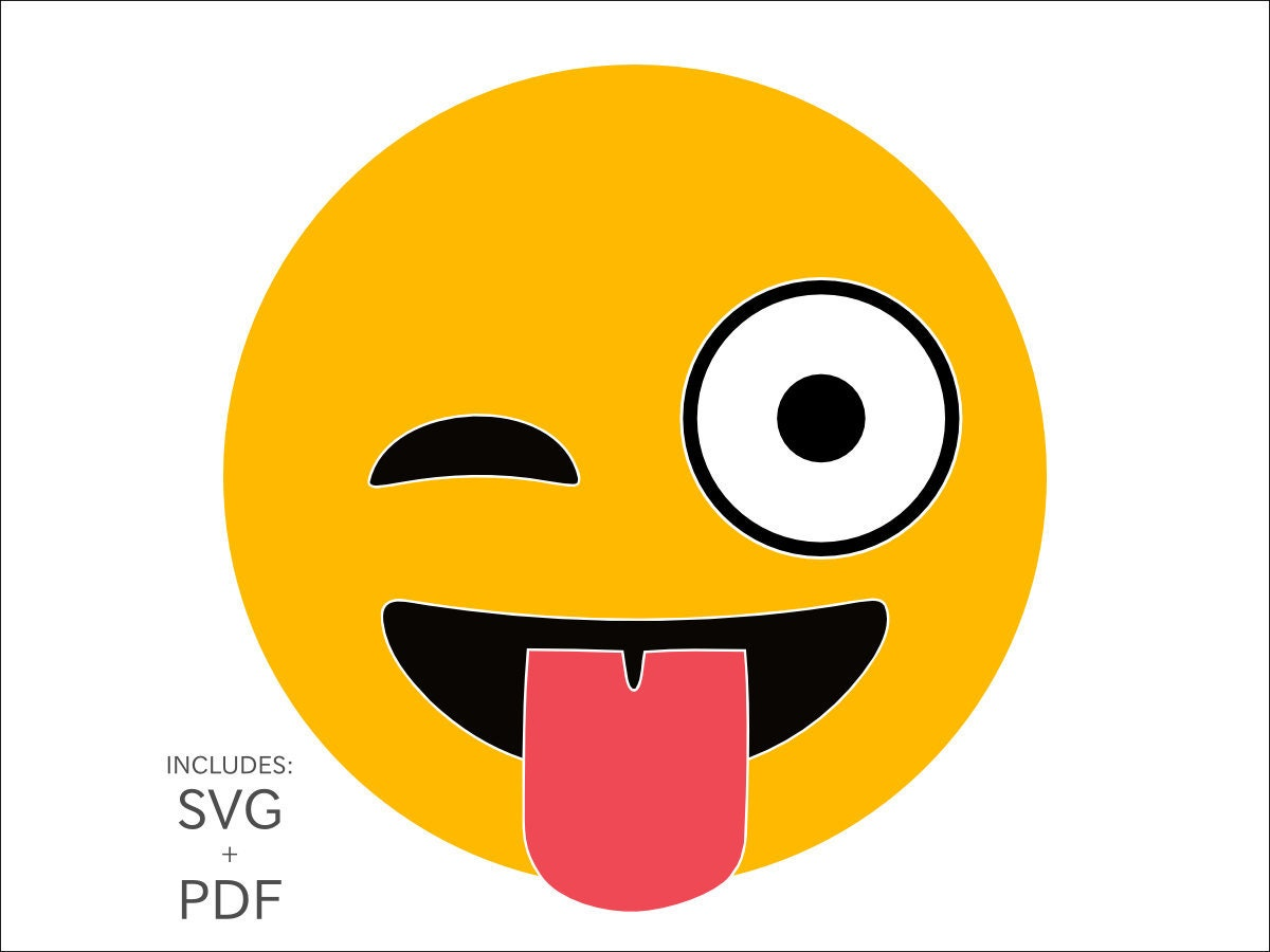 Royalty Free Winking Emoji SVG Clipart Wink Tongue ...