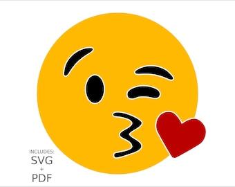 Cuttable Emoji SVG, Winking Heart Kiss Emoticon, Flirty Kissy Face, Blow Kiss Vector Cut File for Wood, T-Shirts, Vinyl & Metal for PC + Mac