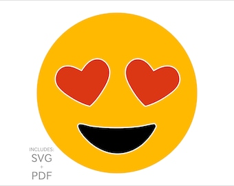Cuttable Emoji SVG, Heart Shaped Eyes Lover Emoticon, Funny Love Smiley Face Vector Cut File for Wood, T-Shirts, Vinyl & Metal for PC + Mac