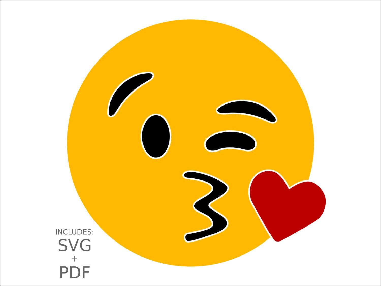 royalty free kiss emoji svg clipart wink kissing smiley face   etsy