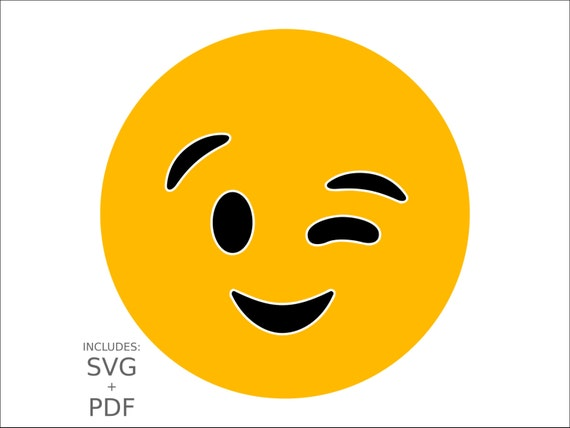 Cuttable Emoji SVG Winking Blinking Emoticon Flirty Smiley ...
