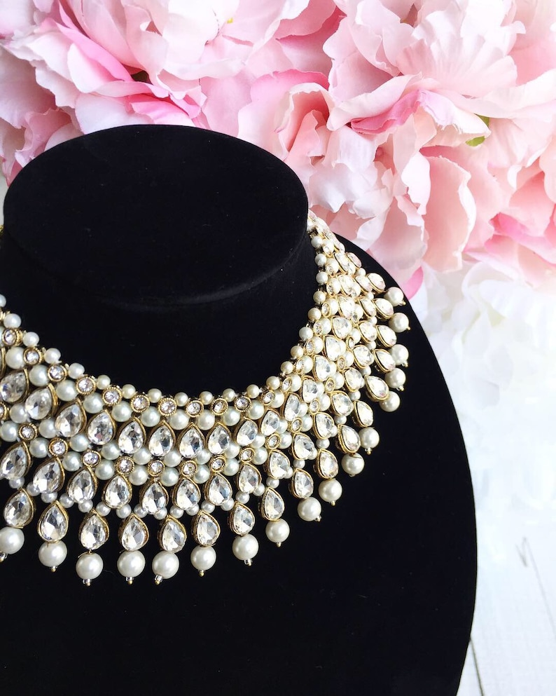 aaa32a741 Classy Rhinestone and White Pearl Indian Bridal Jewelry Set   Etsy