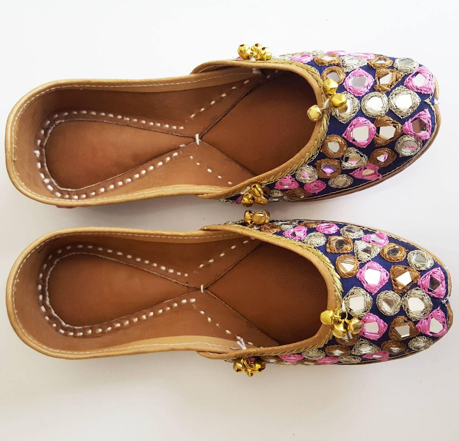 pink and navy blue punjabi jutti with mirrors and bells - slip on ballet flats with mirrors, blue ballet flats, indian jewlery,