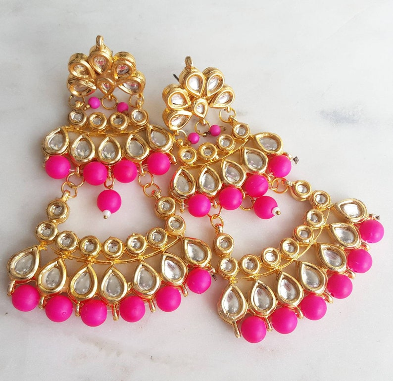 1f6988c06459f Pink and Gold Kundan Indian Jewelry Set with Large Earrings and Pink Passa  - Indian Wedding Jewelry, Indian Nose Ring, Valentine's Day Gift