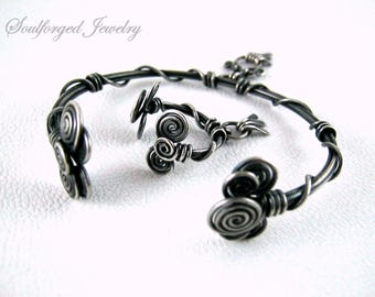 Silver bracelet and ring set - Sterling silver wire matching spirals bracelet and ring set for her, handcrafted and oxidised