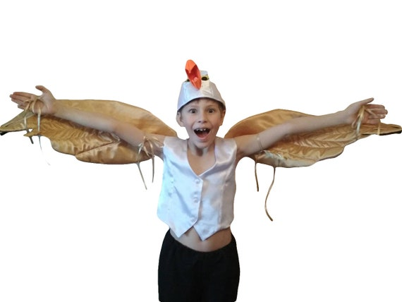 Christmas Carnival Theme Outfit.Bird Costume Golden Wings Seagull Scuttle Halloween Christmas Party Children Size Little Mermaid Bird Costume Party Carnival