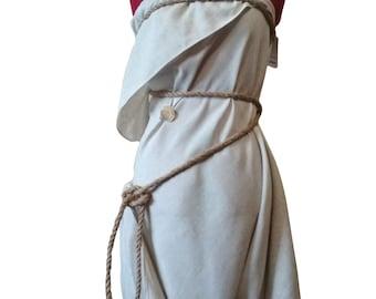 Linen Dress Halloween Outfit Beach Wedding Adult Costume Shipwreck Dress Birthday Party Seashell Brooche Pin