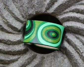 Hand painted genuine leather bracelet, green leather cuff bracelet, abstract design braclet