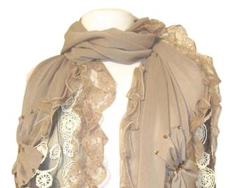Special occasion scarf, shawl, wrap, cape, lace with diamante - Mocha - CFOC0525
