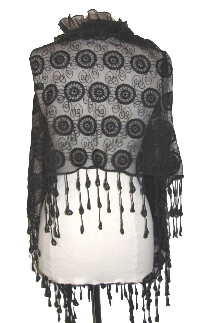 one size regular UK 10-16 Black dressy lace silk blend waistcoat with tassel trim