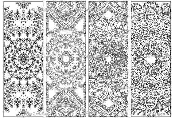 Bookmark coloring, Flower Mandalas Coloring Bookmarks, printable bookmarks,  Coloring Adults Bookmark, Digital Download