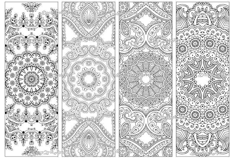 Bookmark coloring, Flower Mandalas Coloring Bookmarks, printable bookmarks,  Coloring Adults Bookmark, Digital Download
